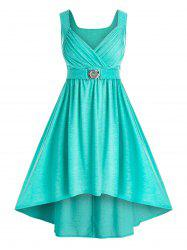 Plus Size High Low Ruched Midi Party Dress -