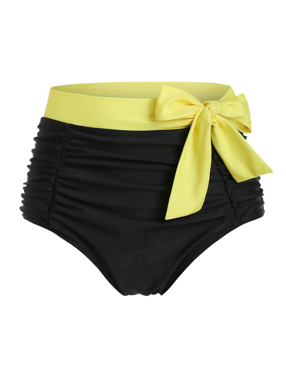 rosegal Contrast Bowknot Ruched Swim Bottom