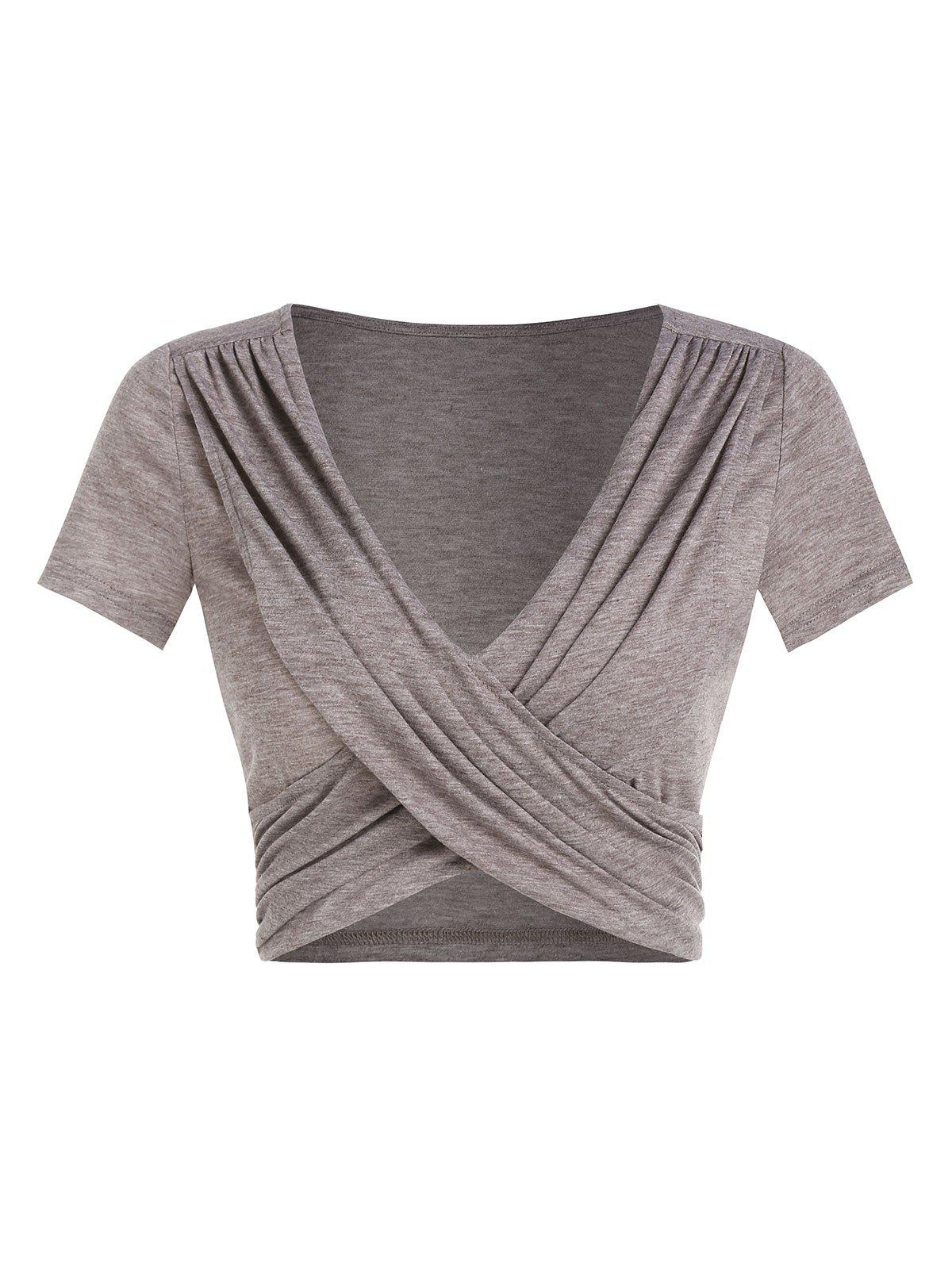 Unique Ruched Crossover Heathered Cropped T-shirt