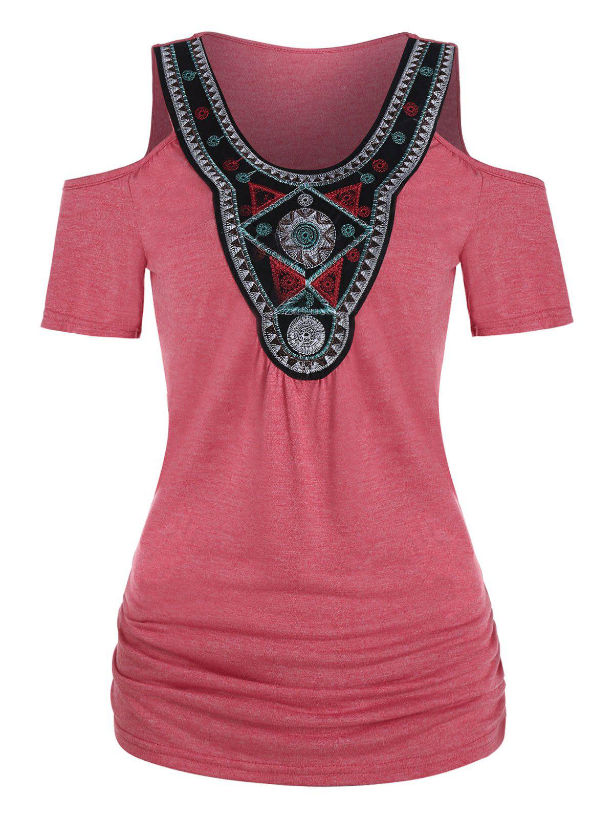 Latest Tribal Embroidered Ruched Cold Shoulder T-shirt