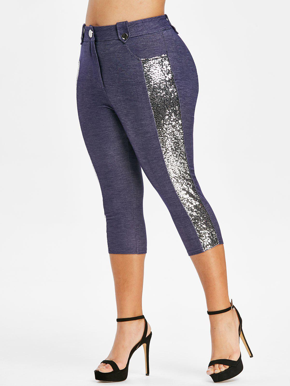 Hot Plus Size Glitter Sequined High Waisted Capri Pants