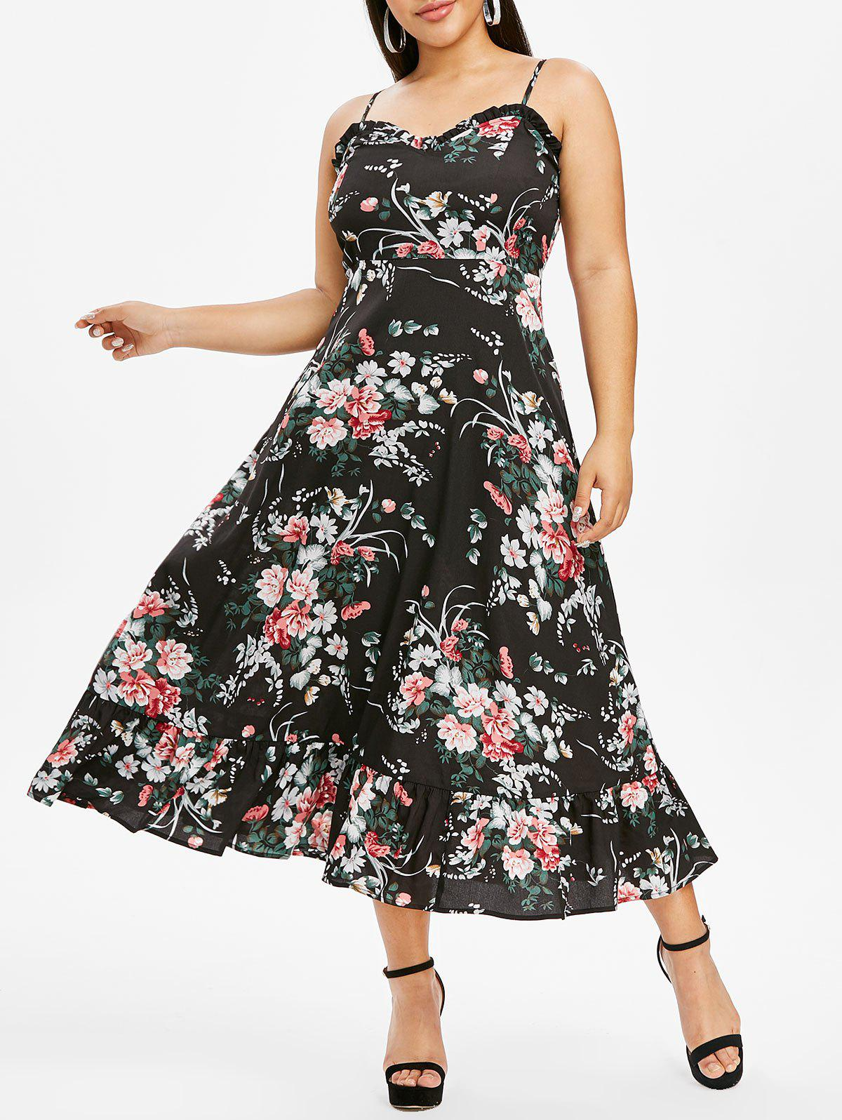 Outfits Plus Size Flower Print Flounce Frilled Cami Midi Dress