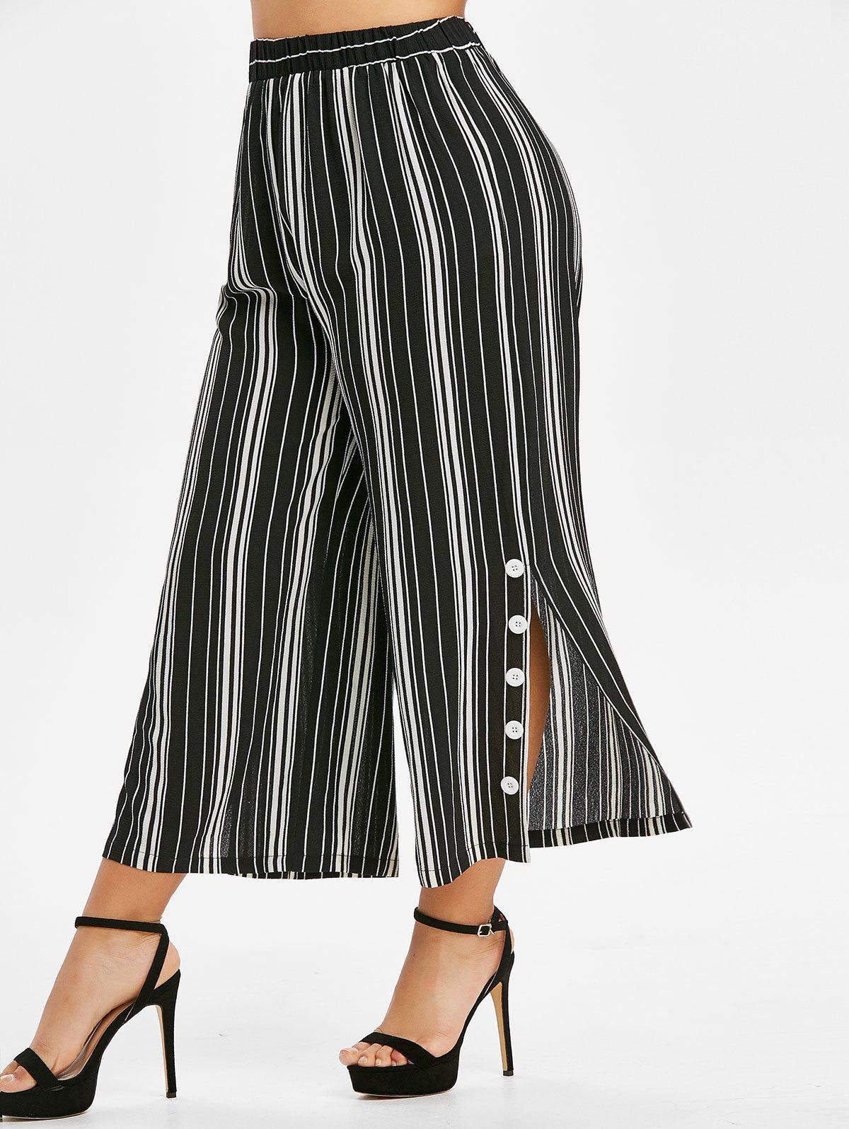 Trendy Plus Size Striped Slit Buttoned Palazzo Wide Leg Pants