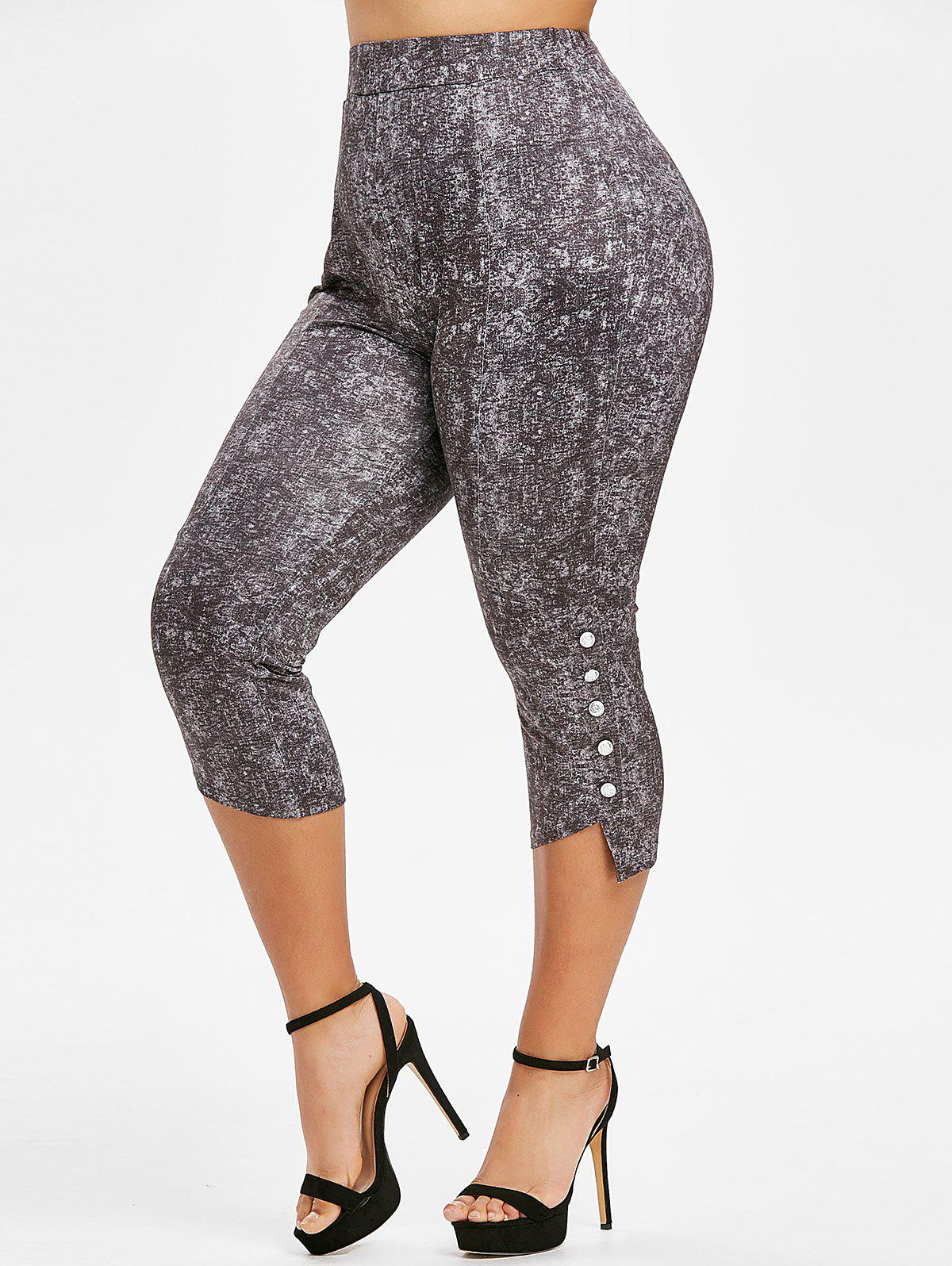 Sale Plus Size Space Dye High Rise Buttoned Leggings