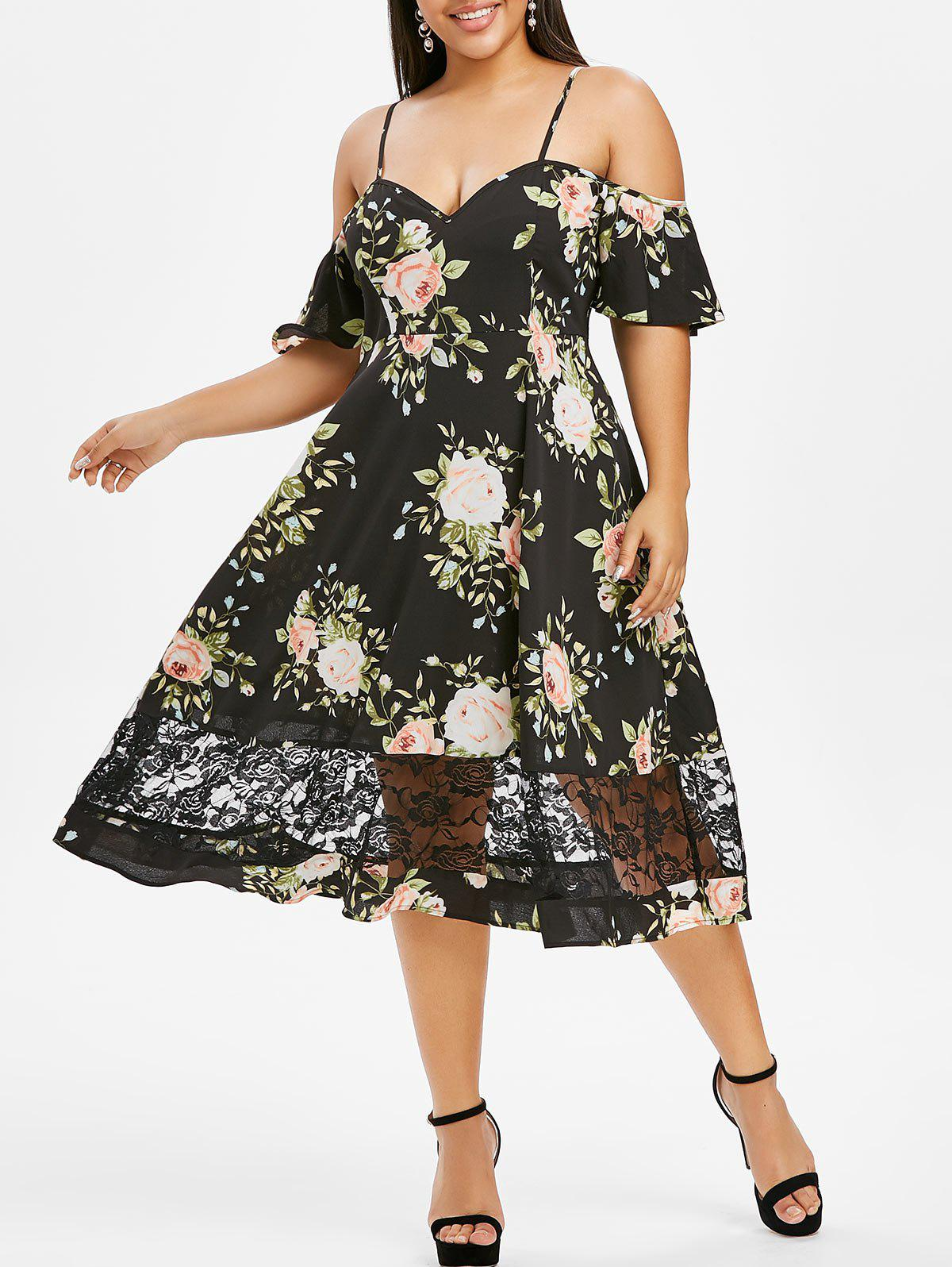 Online Plus Size Flower Cold Shoulder Lace Panel Casual Dress
