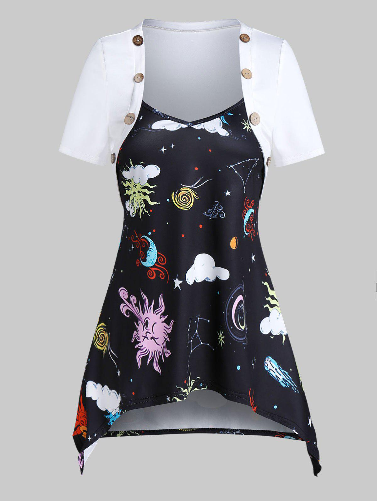 Best Sun Moon Star Print Hanky Hem Mock Button T-shirt