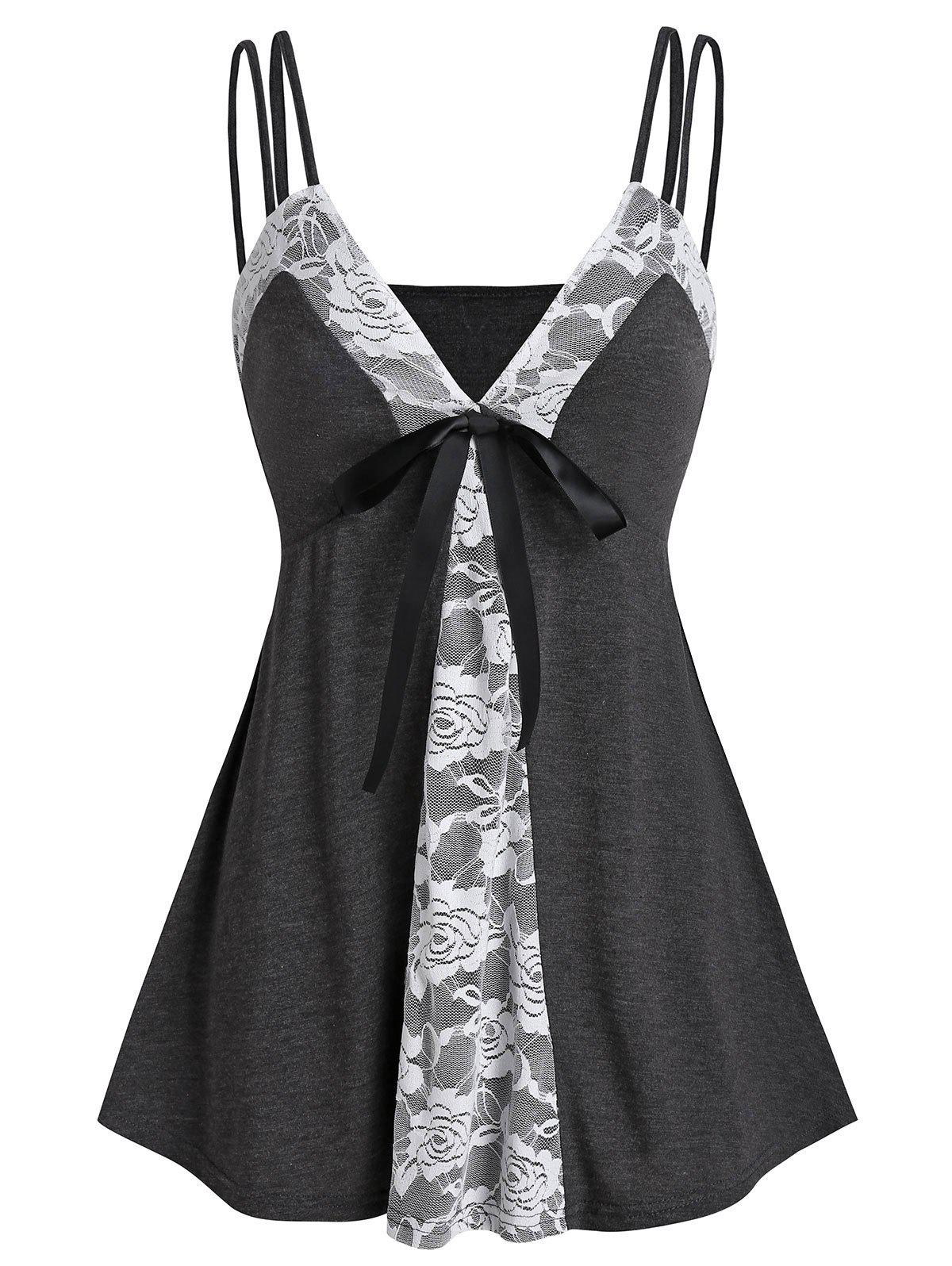 Shops Lace Insert Bowknot Heathered Cami Top