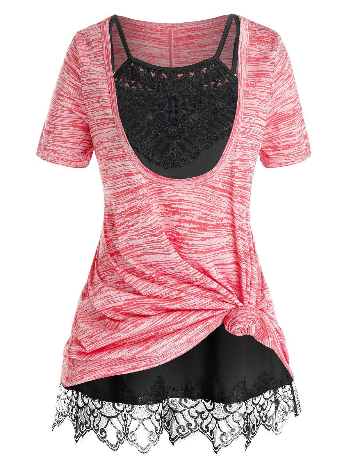Fashion Plus Size Front Knot Marled Tee and Cami Top Set
