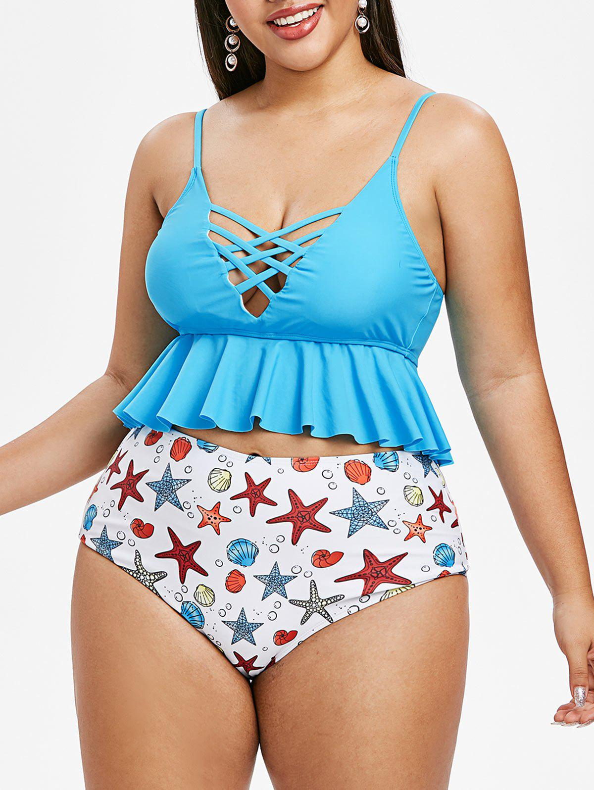 Outfit Plus Size Crisscross Starfish Shell Printed Cami Tankini Swimsuit