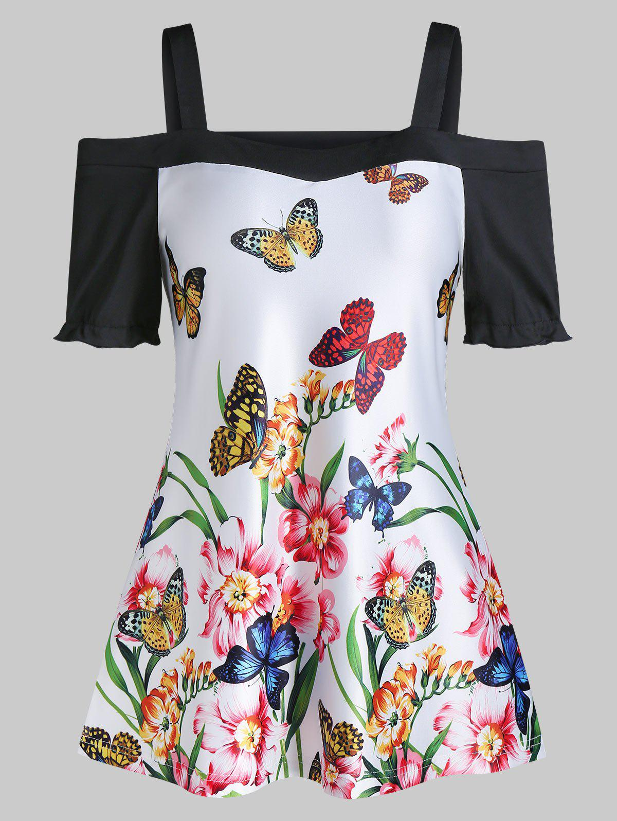 New Butterfly Floral Print Cold Shoulder Short Sleeve T Shirt