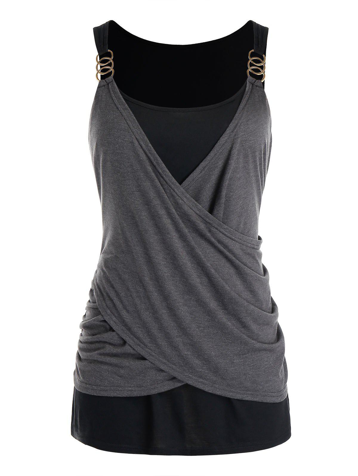 Plus Size Draped Crossover Tank Top Rosegal