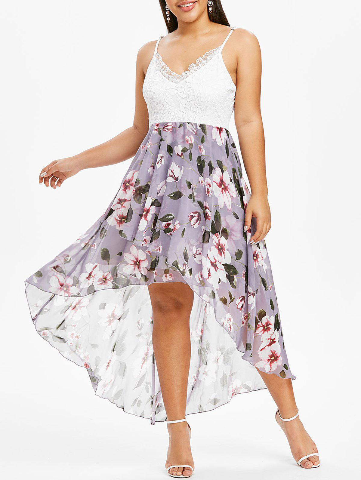 Chic Plus Size Flower Print Lace Insert Ruffle High Low Dress
