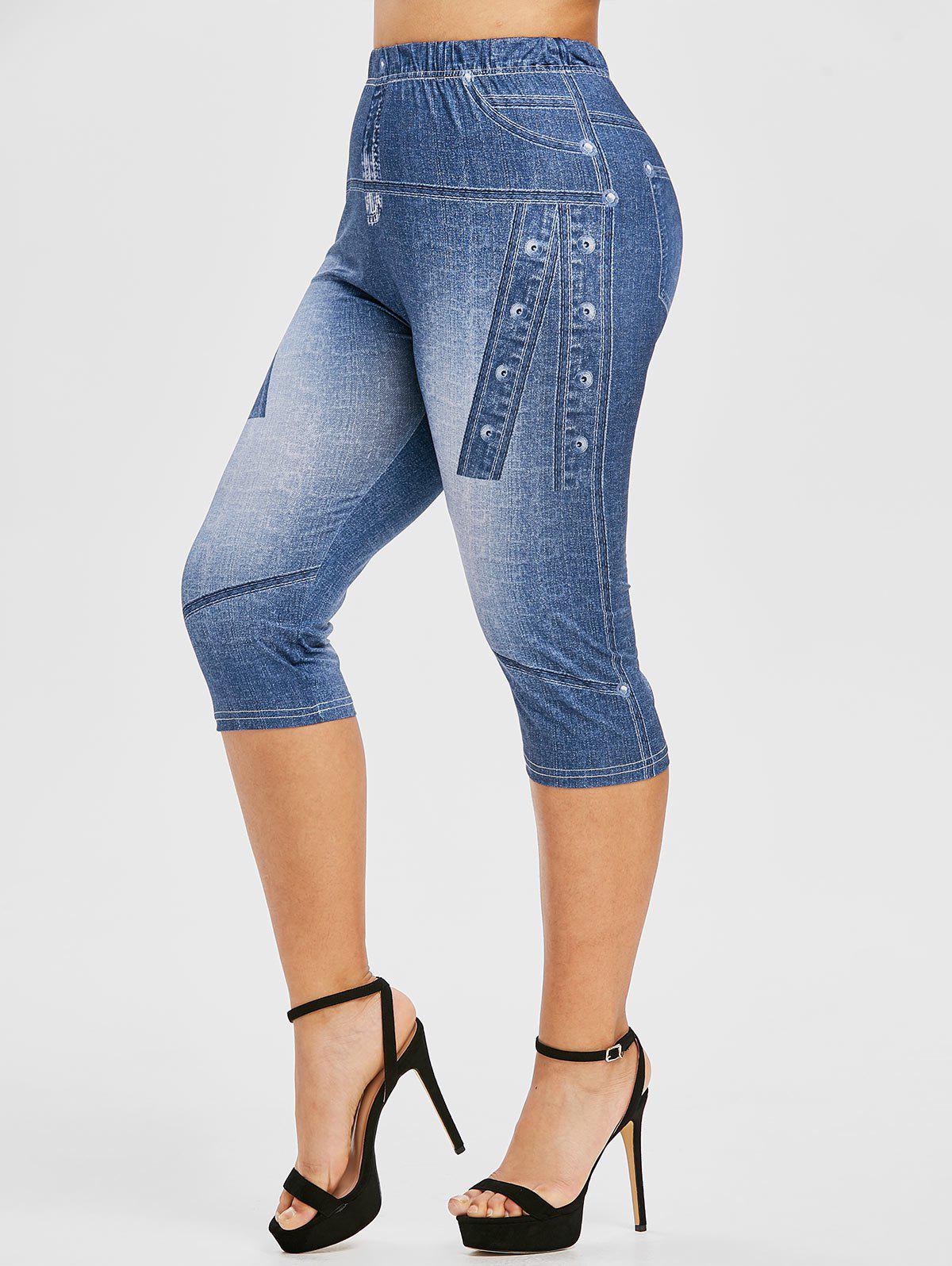 New Plus Size 3D Jean Print Cropped High Waisted Jeggings