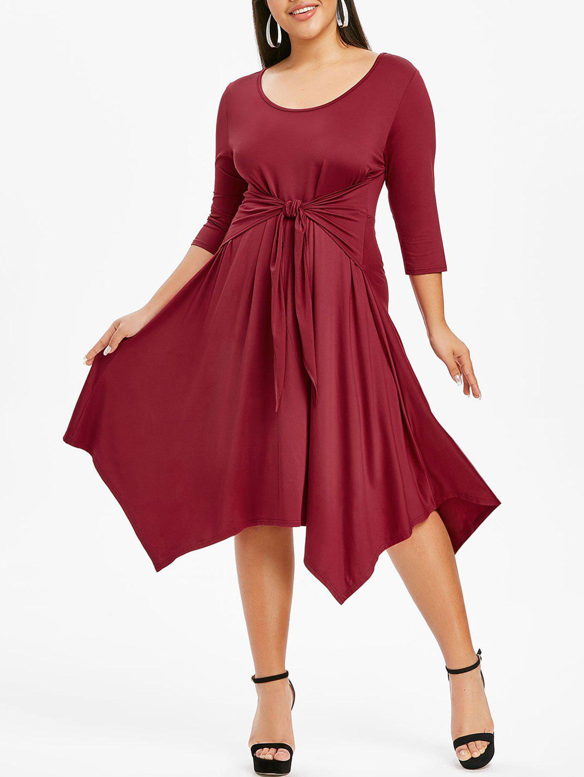 Fashion Plus Size Solid Color Hanky Hem Dress