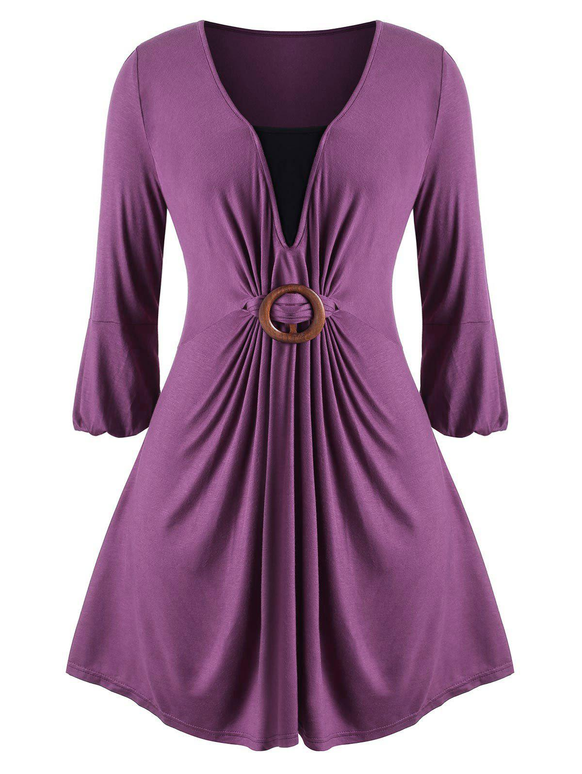 Shops Contrast O Ring Skirted Longline Plus Size Top