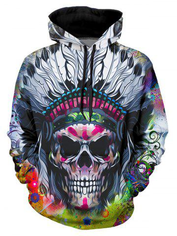 Indian Skull Graphic Casual Front Pocket Hoodie