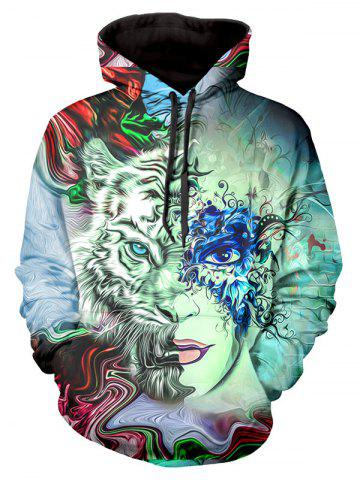 Masked Face Graphic Front Pocket Casual Hoodie