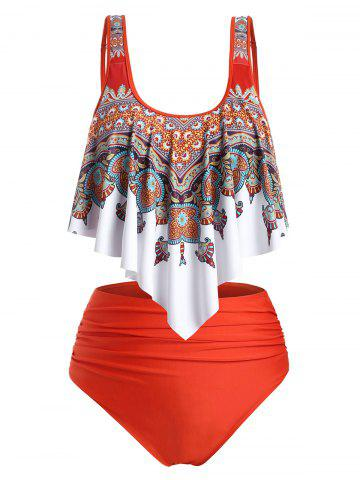 Flounces High Waisted Ruched Printed Plus Size Tankini Swimwear - ORANGE - 4X