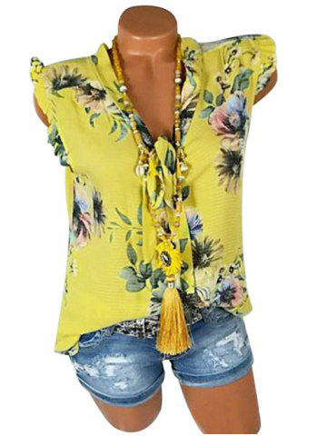 Plus Size Bowknot Tie Ruffle Floral Tank Top - YELLOW - 5X