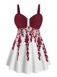 Ruched Floral Skirted Plus Size Tankini Swimsuit -