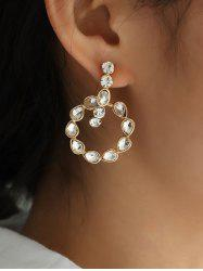 Water Drop Rhinestone Circle Stud Earrings -