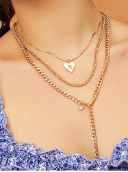 Heart Pendant Multilayered Chain Necklace -