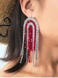 Rhinestone Beads Fringe Long Earrings -