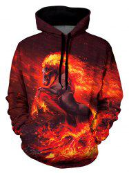Fire Horse Graphic Front Pocket Casual Hoodie -