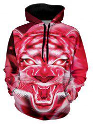 Tiger Graphic Front Pocket Casual Hoodie -