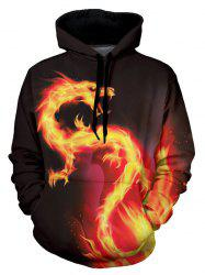 Fire Dragon Graphic Front Pocket Casual Hoodie -