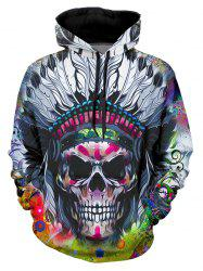 Indian Skull Graphic Casual Front Pocket Hoodie -