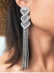 Heart Rhinestone Tassel Long Earrings -