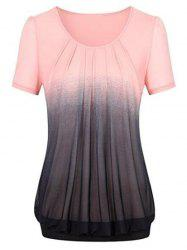 Plus Size Gradient Color Blouson T Shirt -