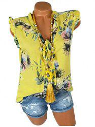 Plus Size Bowknot Tie Ruffle Floral Tank Top -