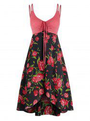 Plus Size Flower Cinched Tie Backless Overlap Cami Dress -