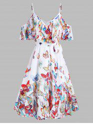 Butterflies Print Knotted Cold Shoulder Flounce Dress -