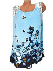 Plus Size Butterfly Floral Print Swing Tank Top -