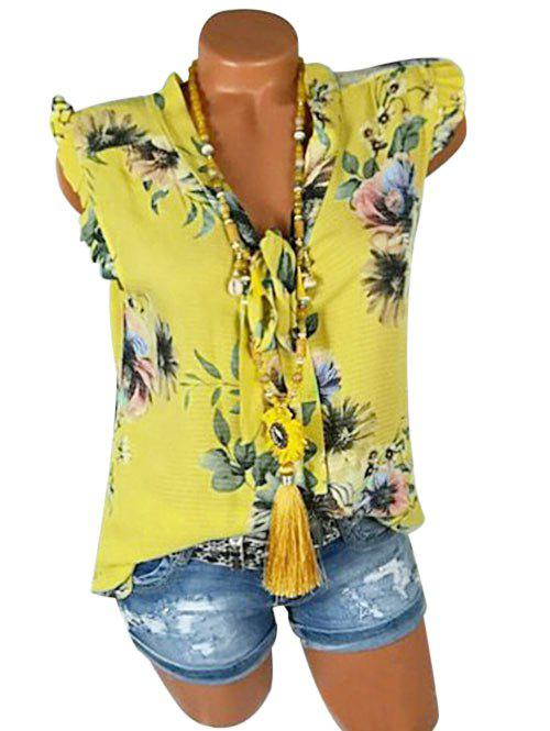 Trendy Plus Size Bowknot Tie Ruffle Floral Tank Top