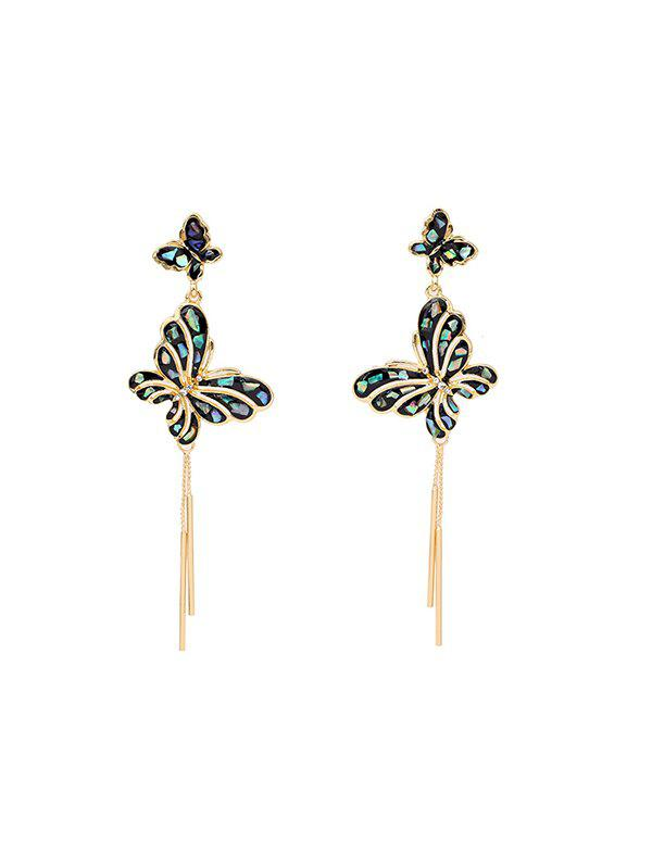 Online Butterfly Rhinestone Sparkly Long Tassel Earrings
