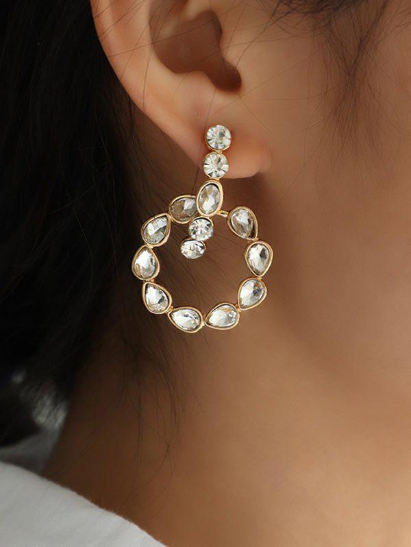 Buy Water Drop Rhinestone Circle Stud Earrings