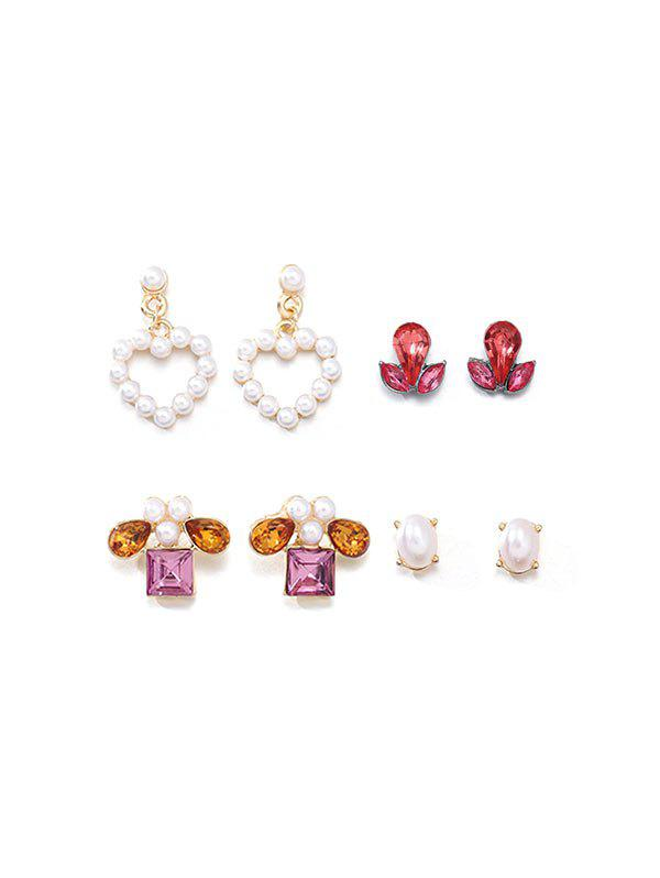 Outfits 4Pairs Faux Pearl Heart Geometric Earrings Set
