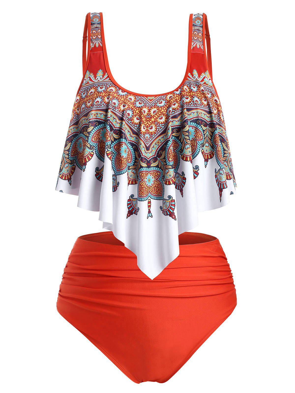 Unique Flounces High Waisted Ruched Printed Plus Size Tankini Swimwear