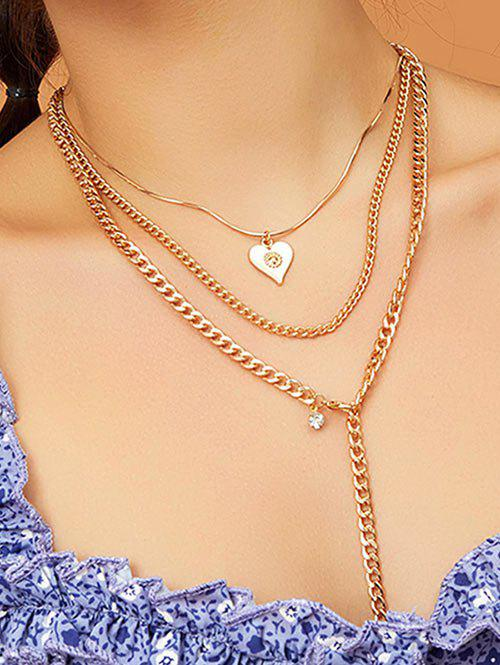 Discount Heart Pendant Multilayered Chain Necklace