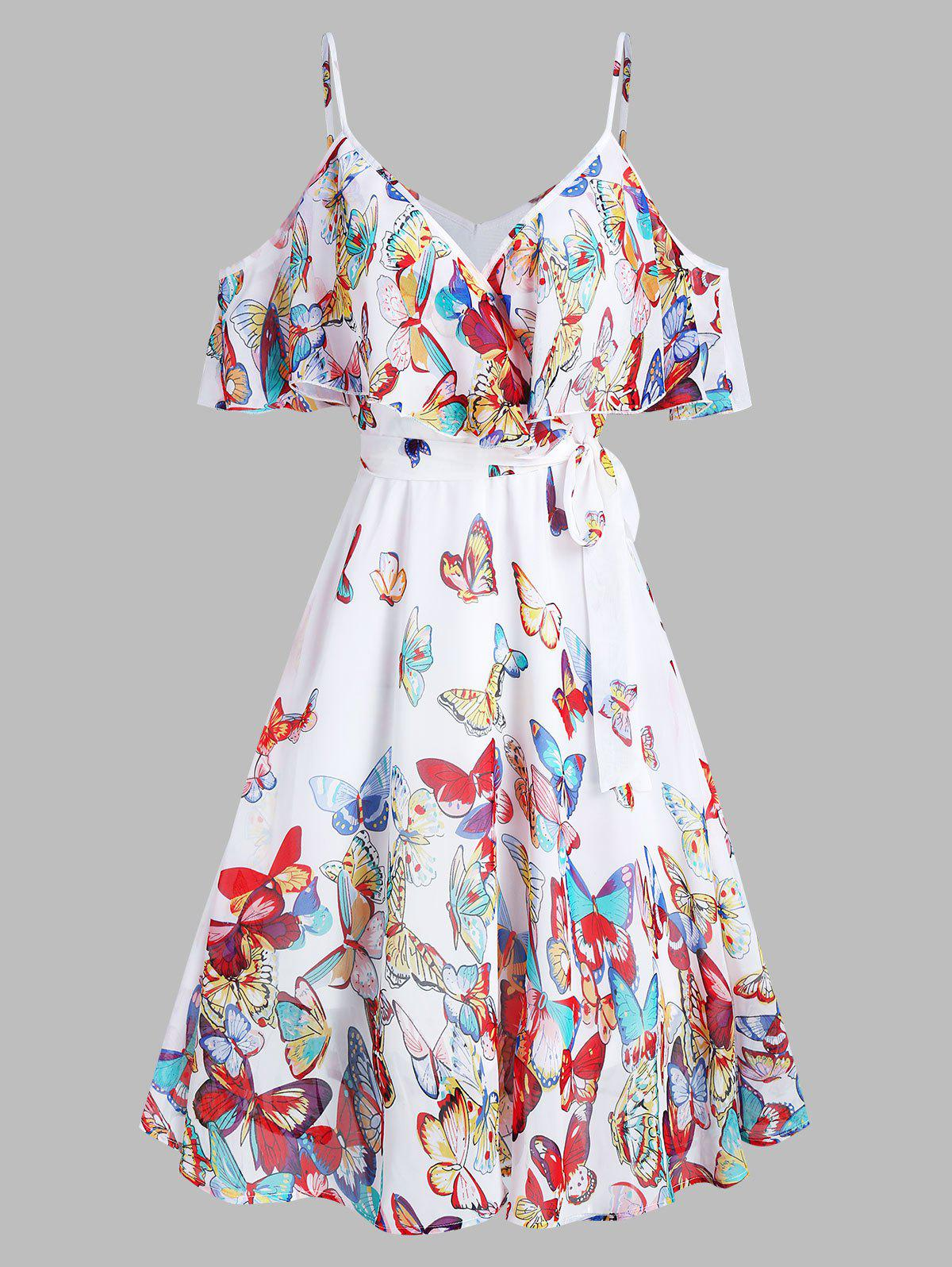 Cheap Butterflies Print Knotted Cold Shoulder Flounce Dress