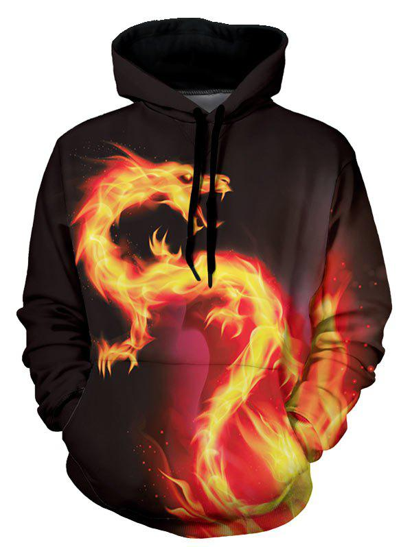 Fancy Fire Dragon Graphic Front Pocket Casual Hoodie