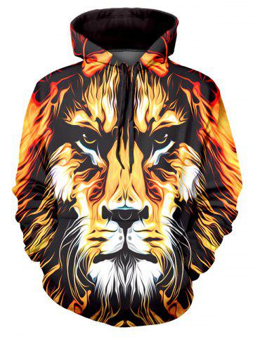 Lion Art Paint Graphic Front Pocket Casual Hoodie