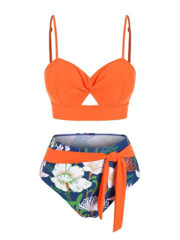 Twist Floral Print Hollow Out Bikini Swimwear - ORANGE - XL