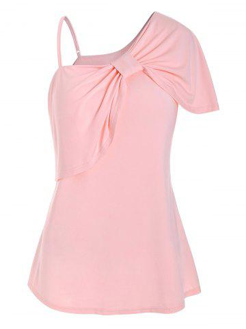 Plus Size Front Knot Ruffled T Shirt - PINK - L