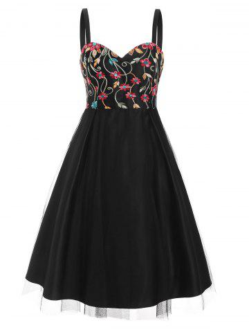 Lace Overlay Flower Embroidered Sweetheart Dress