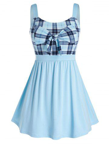 Plus Size Plaid Bowknot Splicing Tank Top - CRYSTAL BLUE - 5X